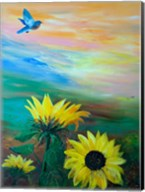BlueBird Flying Over Sunflowers Fine-Art Print