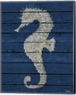 Antique Seahorse on Blue II Fine-Art Print