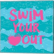 Swim Your Heart Out - Teal Pink Fine-Art Print