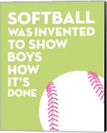 Softball Quote - White on Lime Fine-Art Print