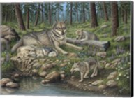 Grey Wolf Mother And Pups Fine-Art Print