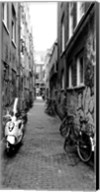 Scooters and bicycles parked in a street, Amsterdam, Netherlands Fine-Art Print