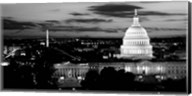 High angle view of a city lit up at dusk, Washington DC Fine-Art Print