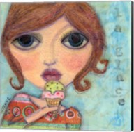 Big Eyed Girl Ice Cream Cone Fine-Art Print