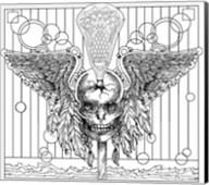 Lacrosse Skull Line Art Fine-Art Print