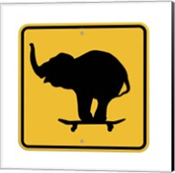 Elephant On Skateboard Crossing Sign Fine-Art Print