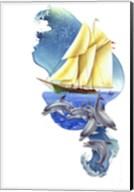 Sailboat Dolphin Wave Fine-Art Print