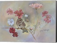 Sparrow In Cosmos Flowers Fine-Art Print