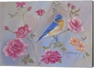 Blue Bird In Roses Fine-Art Print