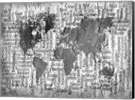 Map of the World Black and White Fine-Art Print
