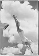 Woman Jumping from Springboard Fine-Art Print