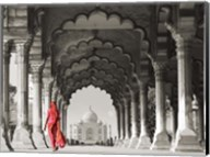 Woman in traditional Sari walking towards Taj Mahal (BW) Fine-Art Print