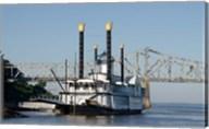 Paddlewheel boat and casino, Mississippi River, Mississippi Fine-Art Print