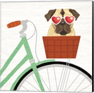 Beach Bums Pug Bicycle I Fine-Art Print