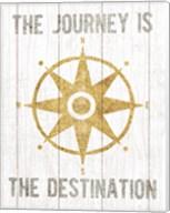 Beachscape IV Compass Quote Gold Neutral Fine-Art Print