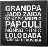 Grandpa Various Languages - Chalkboard Fine-Art Print