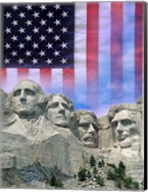 American flag and Mt Rushmore Fine-Art Print