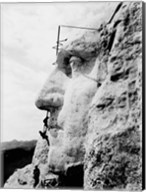 Construction of George Washington's face on Mount Rushmore, 1932 Fine-Art Print
