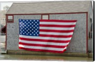 Massachusetts, Nantucket, Flag on boathouse Fine-Art Print
