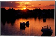 Sunset on Boats in Portsmouth Harbor, New Hampshire Fine-Art Print