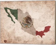 Map with Flag Overlay Mexico Fine-Art Print