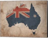 Map with Flag Overlay Australia Fine-Art Print