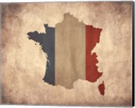 Map with Flag Overlay France Fine-Art Print