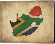 Map with Flag Overlay South Africa Fine-Art Print