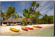 Kayak on the beach, and waterfront bure, Plantation Island Resort, Malolo Lailai Island, Mamanuca Islands, Fiji Fine-Art Print