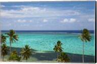 Palm trees and coral reef, Crusoe's Retreat, Coral Coast, Viti Levu, Fiji Fine-Art Print