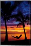 Woman in hammock, and palm trees at sunset, Coral Coast, Viti Levu, Fiji Fine-Art Print