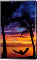 Woman in hammock, and palm trees at sunset, Coral Coast, Viti Levu, Fiji Fine-Art Print
