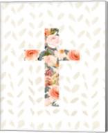 Orange Floral Cross Fine-Art Print