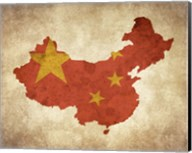 Map with Flag Overlay China Fine-Art Print