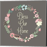 Bless Our Home Floral Brown Fine-Art Print