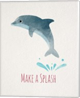 Make a Splash Dolphin White Fine-Art Print