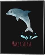 Make a Splash Dolphin Black Fine-Art Print