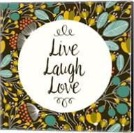 Live Laugh Love Retro Floral Black Fine-Art Print