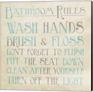 Bathroom Rules Teal Fine-Art Print