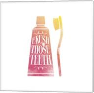 Brush Those Teeth Watercolor Silhouette Fine-Art Print