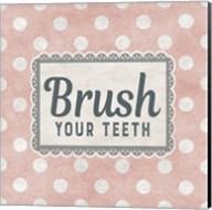 Brush Your Teeth Pink Pattern Fine-Art Print