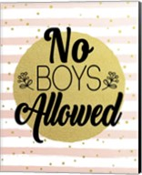 No Boys Allowed Stripes and Dots Gold Fine-Art Print