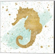 Silver Sea Life Aqua Seahorse Fine-Art Print