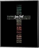 Names of Jesus Cross Silhouette Green Ombre Fine-Art Print