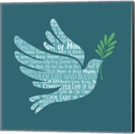 Names of Jesus Dove Silhouette Blue Fine-Art Print