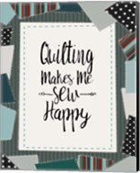 Quilting Makes Me Sew Happy Green Fine-Art Print