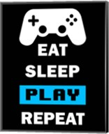 Eat Sleep Game Repeat  - Black and Blue Fine-Art Print