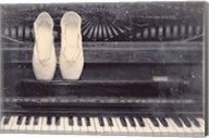 Ballet Shoes And Piano Old Photo Style Dust and Scratches Fine-Art Print