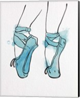 Ballet Shoes En Pointe Blue Watercolor Part I Fine-Art Print