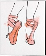 Ballet Shoes En Pointe Orange Watercolor Part I Fine-Art Print